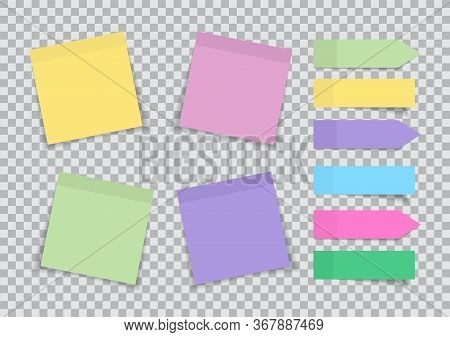 Note Paper Post. Sticky Memo. Blank Sticker For Reminder. Color Labels Isolated On Transparent Backg