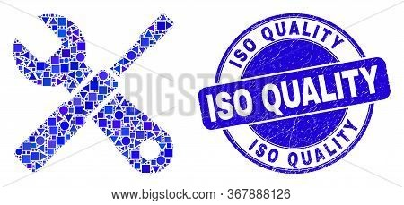 Geometric Setup Tools Mosaic Icon And Iso Quality Watermark. Blue Vector Round Textured Stamp With I