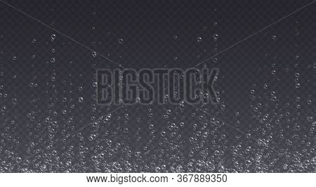 Underwater Fizzing Bubbles, Soda Or Champagne Carbonated Drink, Sparkling Water Isolated On Dark Bac