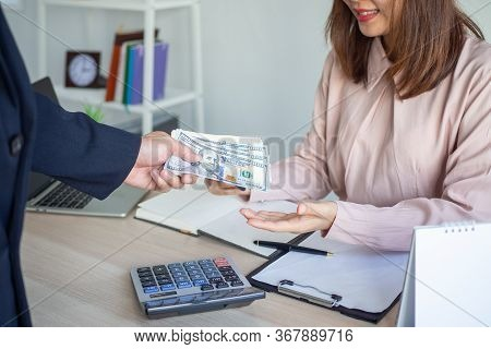 The Finance Department Is Submitting Salary Or Bonus To Female Employees. Compensation Of Work. Boss