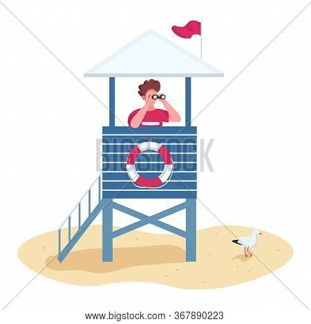 Rescuer With Binoculars In Lifeguard Tower Flat Color Vector Faceless Character. Safety On Beach, Li