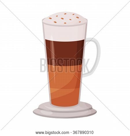 Layered Coffee Cartoon Vector Illustration. Mocha Flat Color Object. Dessert Sweet Drink With Toppin