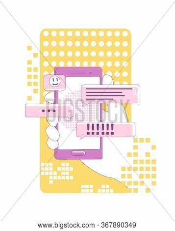 Instant Messaging Marketing Thin Line Concept Vector Illustration. User Holding Smartphone 2d Cartoo