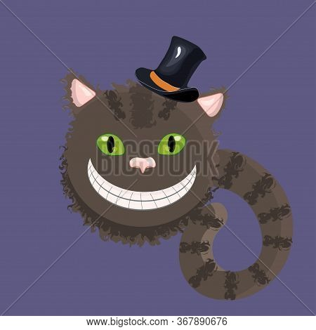 Cheshire Cat Form Alice In Wonderland Wearing A Stovepipe Hat. Vector Illustration.
