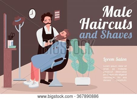 Male Haircuts And Shaves Banner Flat Vector Template. Brochure, Poster Concept Design With Cartoon C