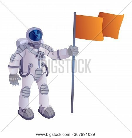 Cosmonaut With Flag Cartoon Vector Illustration. Astronaut In Spacesuit, Spaceman Holding Pennant. R