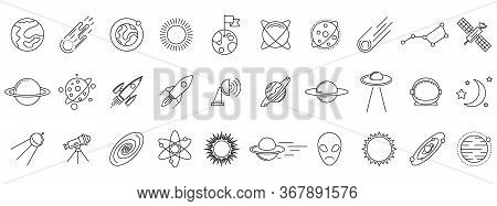 Cosmos Icons Set. Linear Cosmos Icons Isolated. Vector Illustration. Set Of Astronomy Or Space Vecto