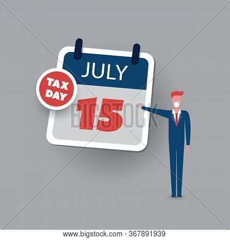 Tax Day Reminder Concept - Calendar Design Template With Businessman - Usa Tax Deadline, New Extende