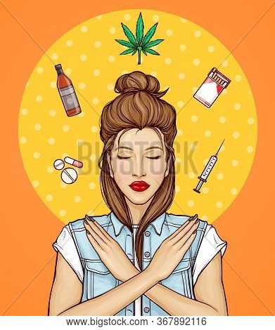 Pop Art Vector Illustration Of Young Girl With Closed Eyes Against Bad Habits, Unhealthy Lifestyle.