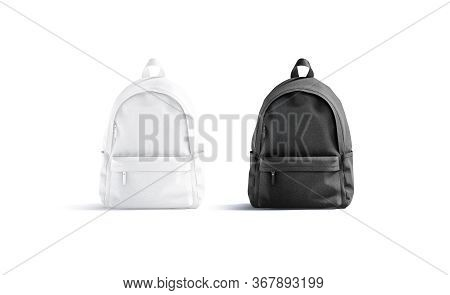Blank Black And White Closed Backpack With Zipper Mockup Set, Isolated, 3d Rendering. Empty Carry Sc
