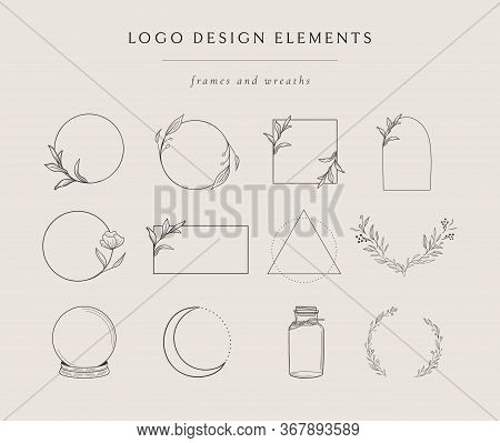 Collection Of Vector Hand Drawn Logo Design Elements, Geometric Floral Frames, Borders, Wreaths, Det