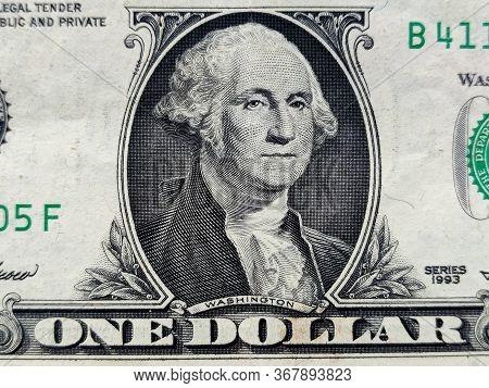 Closeup Of American One Dollar Bill. President George Washington