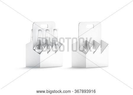 Blank White Glass Beer Bottle Cardboard Holder Mockup, Half-turned View, 3d Rendering. Empty Carrier