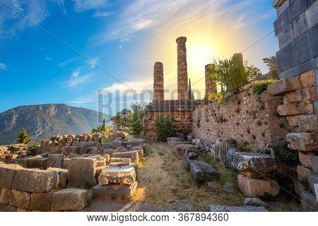 Historical Greek Ancient Ruins - The Temple of Apollo in Delphi, Greece, European travel