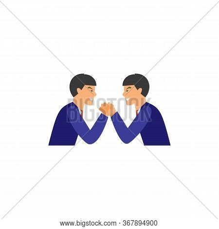 Icon Of Two Businessmen Arm-wrestling. Challenge, Business Rivalry, Contest. Competition Concept. Ca