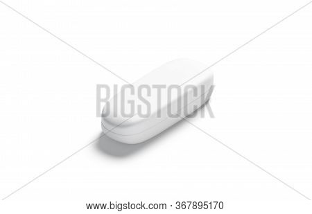 Blank White Closed Glasses Case Mock Up, Side View, 3d Rendering. Empty Protect Spectacles Container