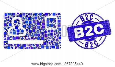 Geometric Personal Credit Card Mosaic Pictogram And B2c Stamp. Blue Vector Round Textured Seal Stamp