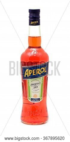 Prague, Czech Republic - May 20, 2020: Full Aperol Bottle Over White Background. Aperol Is Classic I