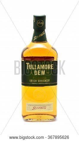 Prague, Czech Republic - May 20, 2020: Full Bottle Of Tullamore Dew Irish Whiskey Over White Backgro