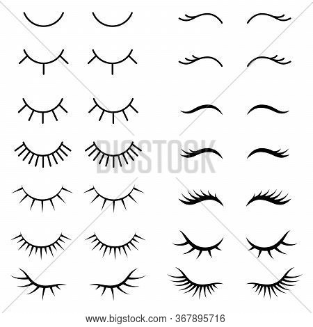 Collection Of False Eyelashes. Black And White Illustration Of Closed Eyes. Eyelashes Icon Vector Op