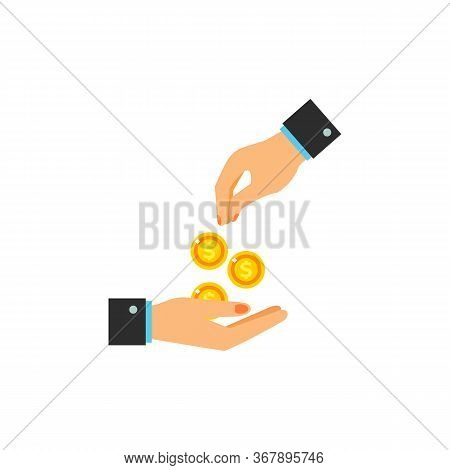 Icon Of Hand Giving Money. Money, Help, Contribution. Charity Concept. Can Be Used For Topics Like V