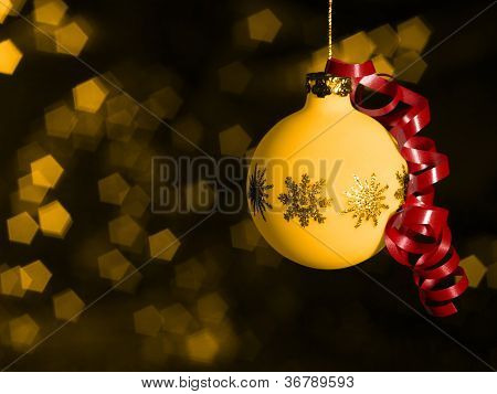 Christmas Bauble In Blurry Back
