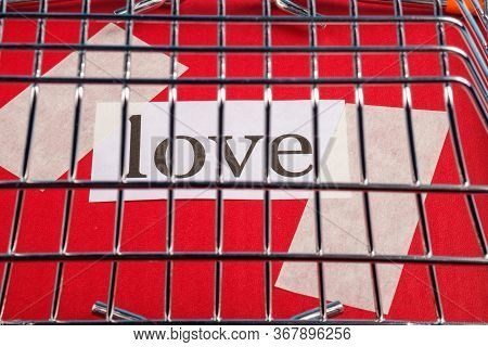 The Inscription Love Is Covered With A Steel Cage. Imprisoned Love
