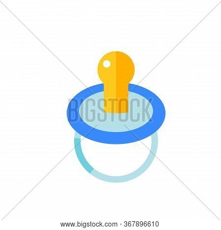 Icon Of Blue Baby Pacifier. Babysitting, Boy, Childhood. Nursery Concept. Can Be Used For Topics Lik