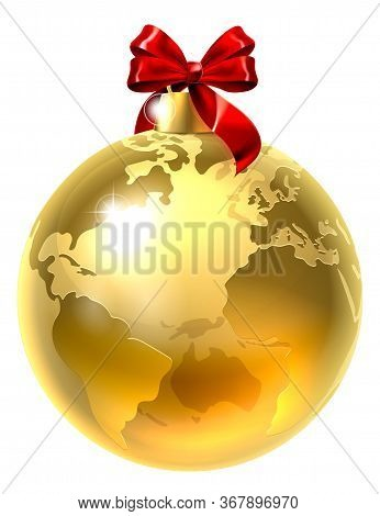 An Illustration Of A Gold Globe World Earth Christmas Tree Bauble Decoration Ornament With A Red Rib