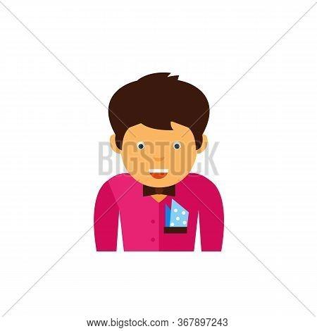 Hipster Wearing Purple Shirt With Bowtie And Pocket Handkerchief. Dress Code, Formalwear, Pocket Han