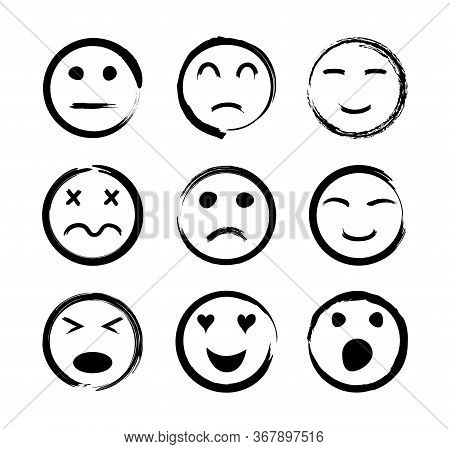 Face Icons. Emoticon With Emotions Of Happy, Sad, Funny, Angry, Love, Cry And Laugh. Sketch Smiles.