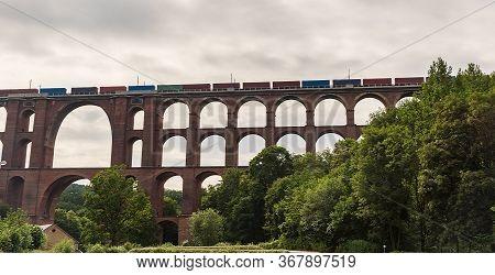 World Largest Railway Viaduct Named Goltzschtalbrucke With Trains Near Netzschkau Towen In Germany