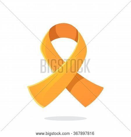 Vector Illustration In Flat Style. Orange Color Ribbon, International Symbol Of Leukemia Or Multiple