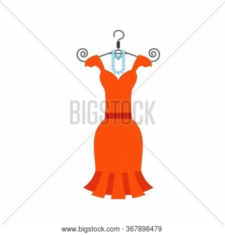 Icon Of Little Orange Dress With Pearl Beads On Hanger. Evening Dress, Womens Fashion, Haute Couture