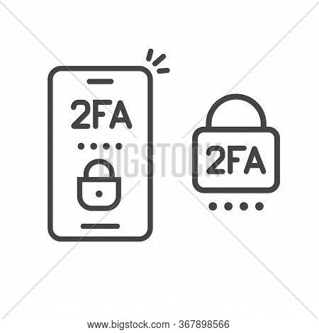 2fa Icon Line Password Secure Login Authentication Verification Vector Outline Art Or Sms Push Code