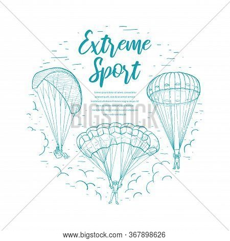 Extreme Sports Template. Doodle Sketches Vector Circle Frame With Skydivers Flying With A Paraglider