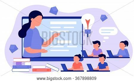 Learn From Distance With Teacher, Online Education. Kids Boy And Girl Is Sitting On Laptop And Study