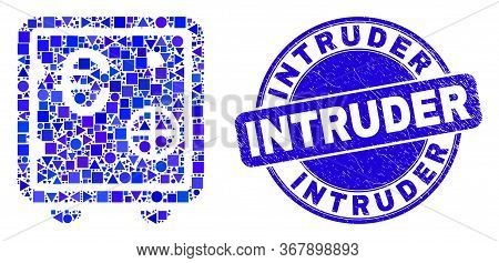 Geometric Euro Banking Safe Mosaic Icon And Intruder Seal. Blue Vector Round Textured Seal With Intr