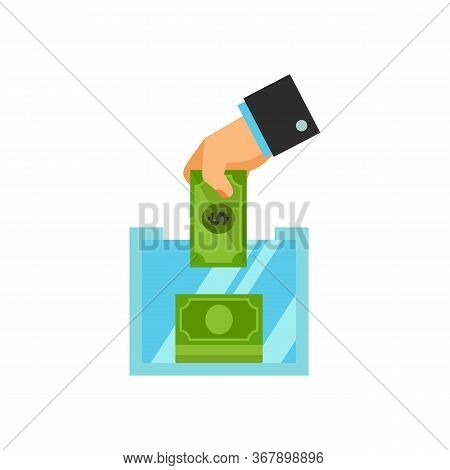 Icon Of Hand Putting Money In Donation Box. Money, Help, Contribution. Charity Concept. Can Be Used