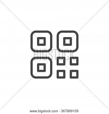 Thin Icon Qr Code. Line Sign Isolated. Custom Vector Pictogram Eps 10 For Web In Outline Style On Wh