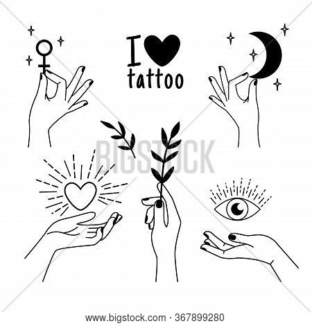 Female Tattoo Hands. Trendy Beautiful Woman Hand Set With Love Heart Icon And Wisdom Eye Sketch, Sec