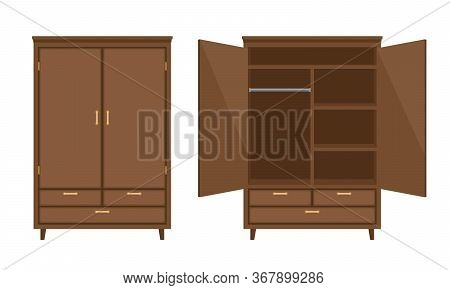 Wood Wardrobe. Wooden Empty Dresser Walldrobe Vector Illustration, Worderobe With Drawer, Shelves An