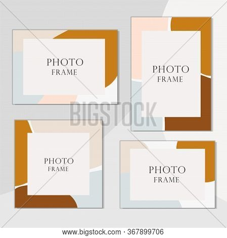 Beautiful Vector Photo Frame On Background. Modern Art Illustration. Album For Pictures And Memory.