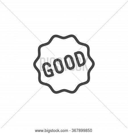 Good Word In Frame Icon. Graphic Symbol For Ads, Promotions E-commerce, Sticker For Messenger. Line