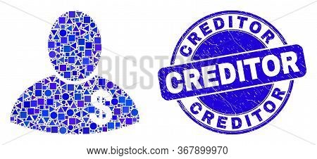 Geometric Banker Mosaic Icon And Creditor Seal Stamp. Blue Vector Rounded Scratched Seal Stamp With