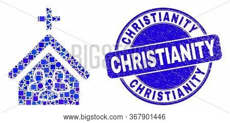 Geometric Church People Mosaic Pictogram And Christianity Seal Stamp. Blue Vector Round Distress Sea