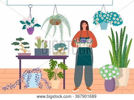 Florist Caring For Indoor Plants. Flower Shop Or Houseplant Store Vector Illustration. Young Woman I