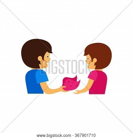 Icon Of Woman Giving Kerchief To Friend. Gift, Support, Accessory. Friendship Concept. Can Be Used F