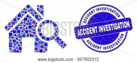 Geometric Explore Realty Mosaic Icon And Accident Investigation Seal Stamp. Blue Vector Round Grunge