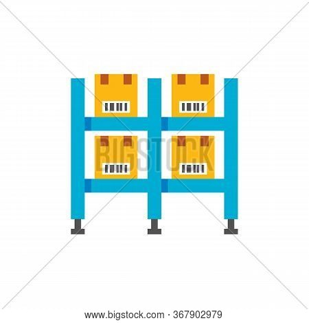 Icon Of Warehouse Case With Cardboard Boxes. Packing House, Distribution Center, Shop Warehouse. War